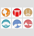 set of japanese new years greeting symbols vector image