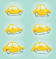 set of yellow cartoon cars vector image vector image