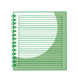 shadow green notebook cartoon vector image vector image