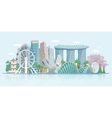 Singapore Skyline Flat Panoramic View Poster vector image