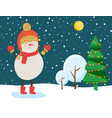 snowman in winter snowy forest christmas eve vector image vector image