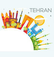 tehran skyline with color landmarks blue sky and vector image vector image