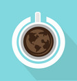 top view of coffee cup with power on with long vector image vector image