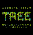 tree font forest alphabet letter from tree nature vector image