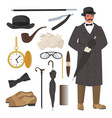 victorian gentleman set flat isolated vector image