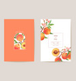 wedding peach floral card exotic fruits vector image