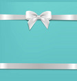 white bow with mint poster vector image vector image