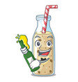 with beer sweet banana smoothie isolated on mascot vector image vector image