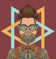 Young hipster man wearing glasses tattoo