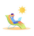 young man freelancer typing laptop at beach vector image