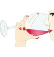 Tasting red wine vector image