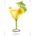 Abstract colorful cocktail with fruit over white vector image