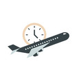airport plane clock time travel transport terminal vector image
