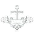 anchor and ribbon banner hand drawn sketch vector image vector image