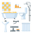 bathroom interior plumbing icon set vector image