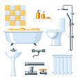 Bathroom interior plumbing icon set