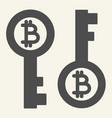 bitcoin key solid icon bitcoin security vector image