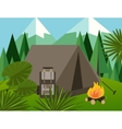 camp forest mountain flat background vector image vector image