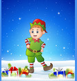 cartoon kid wearing elf costume in the winter back vector image vector image
