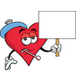 cartoon sick heart holding a sign vector image vector image
