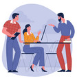 colleagues talking to each other in modern office vector image vector image