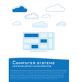 computer and clouds vector image