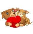 couple dog in love with a red heart vector image