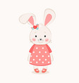cute bunny girl cartoon hand drawn vector image