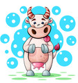 cute funny pretty cow characters with heart vector image