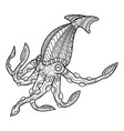 cute squid coloring book for children vector image