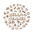 doodle summer icons set vector image vector image
