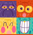 emotion stickers 2x2 concept vector image vector image