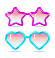 glasses style disco glasses in shape hearts vector image