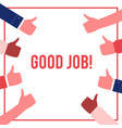 good job poster hands thumbs up gesture vector image