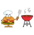 Hamburger Chef Cartoon Cooking a BBQ vector image vector image