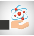hand holding molecule structure chemical graphic vector image