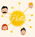 hello people group concept background cartoon vector image