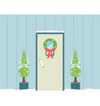 holiday doorway with christmas wreath and noel vector image vector image
