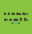 home silhouette icons with text ribbon and green vector image vector image