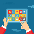 Human Hands with Tablet and Icons Set vector image