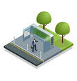 isometric business man waiting bus at public bus vector image