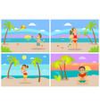 kids at beach seaside coastal vacations flat style vector image vector image