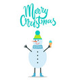 merry christmas greeting card snowman winter hat vector image