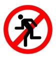 No run prohibition sign vector image vector image