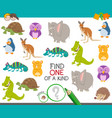 one a kind game for kids with animals vector image vector image