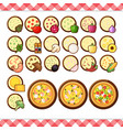 - pizza constructor flat icons isolated on vector image