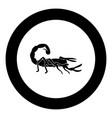 scorpion icon black color in circle vector image vector image