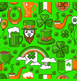 seamless pattern st patricks day on green vector image