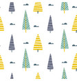 seamless pattern with trees scandinavian vector image vector image