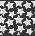seamless star pattern black and white print vector image